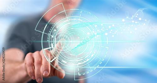 Man touching a technology concept
