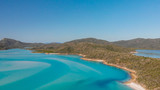 Panoramic aerial view of Whitehaven Beach in Whitsunday Islands, Queensland - 224333249
