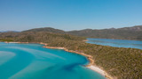 Panoramic aerial view of Whitehaven Beach in Whitsunday Islands, Queensland - 224333451