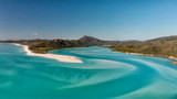 Aerial view of Whitehaven Beach from Hill Inlet on a sunny morning, Queensland - Australia - 224333460
