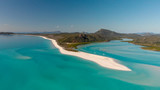 Aerial view of Whitehaven Beach from Hill Inlet on a sunny morning, Queensland - Australia - 224333464