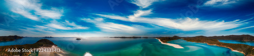 Whitehaven Beach, Queensland. Sunset panoramic aerial view from drone prospective - 224333413
