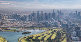 Melbourne aerial city view with Albert Park and skyscrapers - 224334017