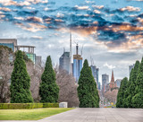 Melbourne city view from Shrine of Remembrance, Victoria, Australia - 224334224