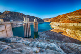 Hoover Dam, USA, the hydroelectric power station on the border of Arizona and Nevada. - 224334457