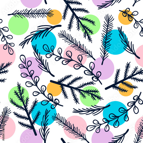 Fototapeta floral polka dot seamless pattern