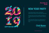 2019 Happy New Year paper craft holiday background. Vector winter holiday party invitation with paper cut numbers 2019 on dark background. Design for seasonal flyers, banners, posters. - 224339032