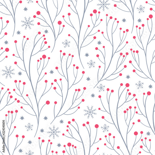 obraz lub plakat beautiful seamless pattern with branches and snowflakes, winter theme, whitebackground