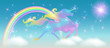 Rainbow in the sky and galloping unicorn with luxurious winding mane against the background of the iridescent universe with sparkling stars