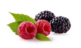Raspberries with blackberry Isolated on White Background