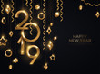 Hanging golden 2019 baubles