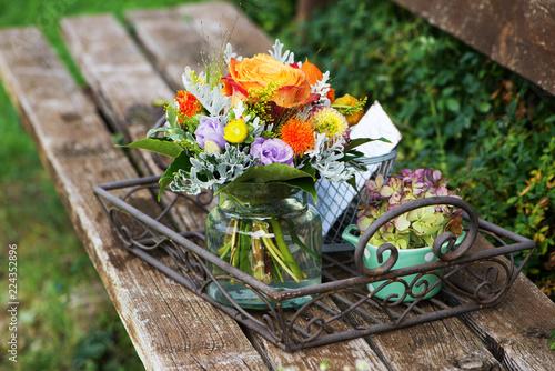 Leinwandbild Motiv Farbenfroher Blumenstrauß