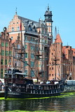 Pirate ship / Gdansk 2018 August 1 old city center old historic building and pirate ship