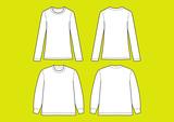 長袖Tシャツ トレーナー テンプレート, ベクター - 224354006