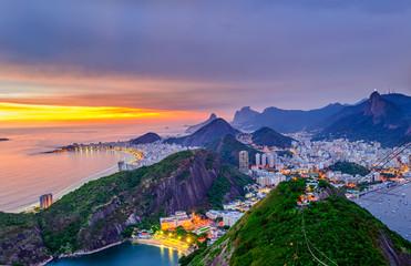 Sunset view of Copacabana,  Corcovado and Botafogo in Rio de Janeiro. Brazil