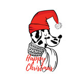 Dalmatian in a Christmas hat. Vector illustration for greeting card, poster, or print on clothes. Winter, Christmas and New Year.