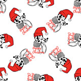 Seamless pattern with dalmatian in a Christmas hat. Vector illustration for greeting card, poster, or print on clothes. Winter, Christmas and New Year.