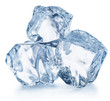 Leinwandbild Motiv Three ice cubes. Macro shot. Clipping path.