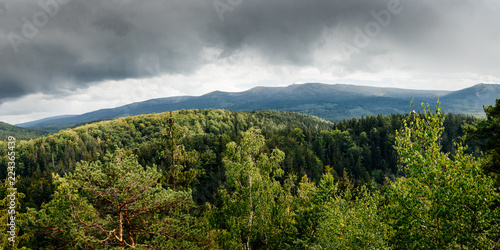 Panoramic view from observation point Zloty Widok (Golden View) in Karkonosze National Park, Poland.