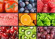 Background of fresh mixed fruits and vegetables