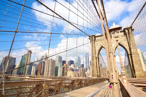 Pedestrian walkway on the Brooklyn Bridge, New York