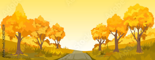 Sticker Autumn rural landscape