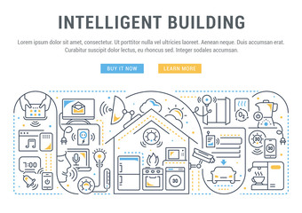 Linear Banner of Intelligent Building.