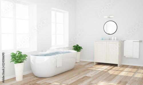 Leinwandbild Motiv bathroom with warm water ready to have a bath