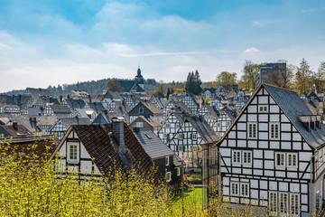 Historische Fachwerkhäuser in der Altstadt von Freudenberg in Nordrhein-Westfalen