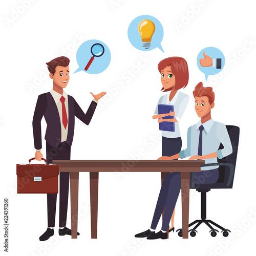 Fridge magnet Business meeting cartoon