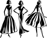 Female silhouettes in evening dresses - 224399085