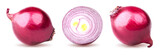 Isolated red onion. Collection of the slice fresh onion and whole onion isolated on white background with clipping path