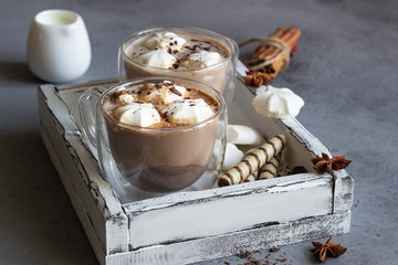 Hot chocolate cocoa drink in glass mug with marshmallows candies, cinnamon sticks, anise, chocolate and waffles. Copy space. Winter food and drink concept.