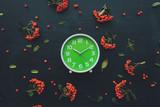Plastic green clock on dark background, flat lay - 224418821
