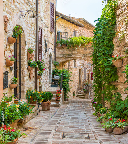 Scenic sight in Spello, flowery and picturesque village in Umbria, province of Perugia, Italy. - 224420820
