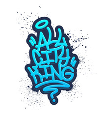 All City King. Tag Graffiti Style Label Lettering. Vector Illustration.