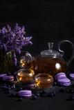 Lavander tea with macarons - 224426041