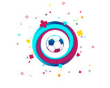 Football ball sign icon. Soccer Sport symbol. Colorful button with icon. Geometric elements. Vector