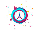 Eiffel tower icon. Paris symbol. Colorful button with icon. Geometric elements. Vector