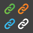 Link icon colorful set. Hyperlink chain symbol. Simple icon. Vector illustration isolated on grey background.