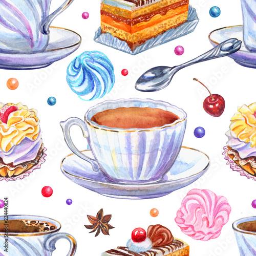 bezszwowy-wzor-filizanki-i-cukierki-na-bialym-tle-akwareli-ilustracja-herbata-kawa-slodycze-marshmallows-ciasto-rysunek-odreczny
