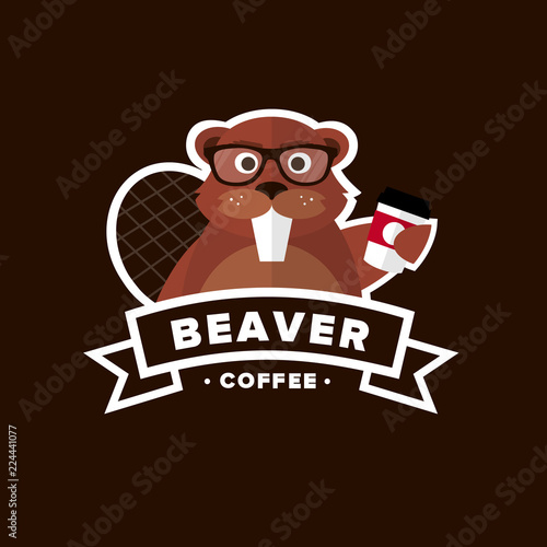 eaver Hipster Coffee to go logo template on dark brown background