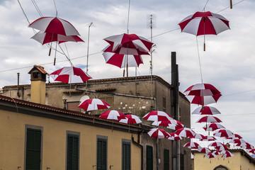 Hanging umbrellas in Anguillara Sabazia (Lazio, Italy)