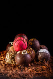 Set of assorted chocolate truffles illuminated with creative lighting, selective focus, black background and accommodation for copy space - 224461247