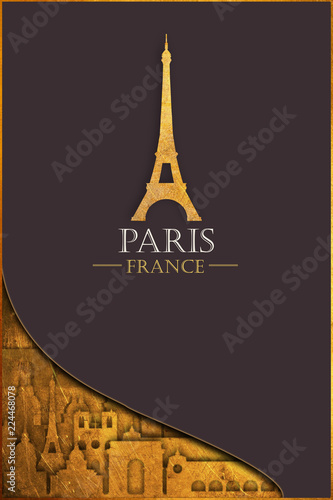 European tour. France. Golden Paris. Postcard. - 224468078