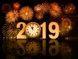 new year 2019 fireworks with clock face - 224470014