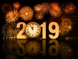 new year 2019 fireworks with clock face