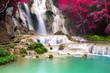 Leinwandbild Motiv Turquoise water of Kuang Si waterfall, Luang Prabang. Laos