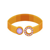 Gold ring, fashionable jewelry vector Illustration on a white background