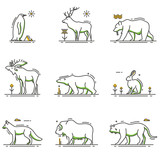 Winter Animals Cartoon in Outline Set